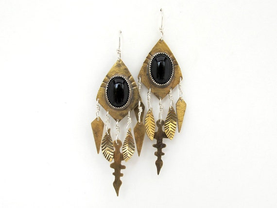 Onyx talisman earrings
