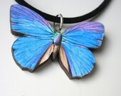 Adorable Blue Purple Butterfly Necklace