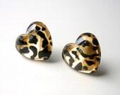 Leopard Earrings - Animal Print - Heart - Gold Black Free Shipping Etsy