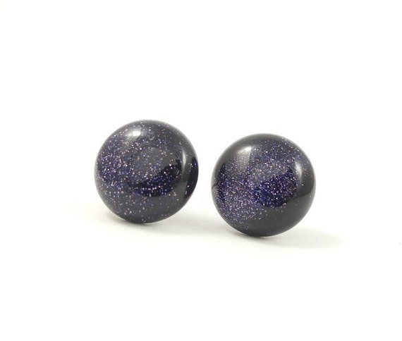 Galaxy Stardust Earring Studs Dark Blue Purple Shimmering Space Nebula Free Shipping - Under 25