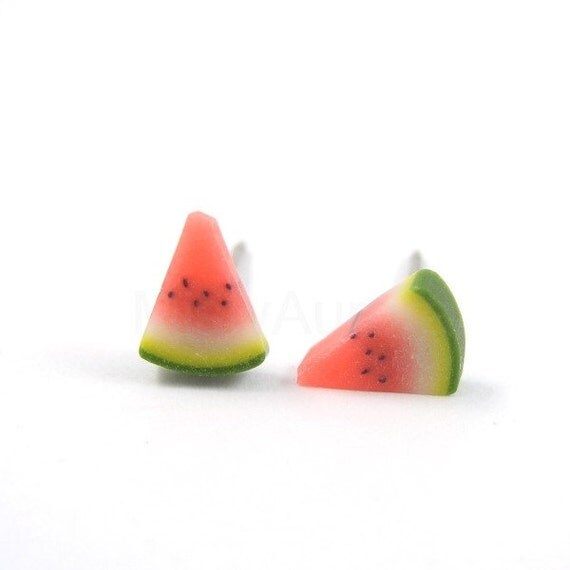 Watermelon Stud Earrings - Fruit Earring Posts - Red Green Earrings - Fruit Jewelry
