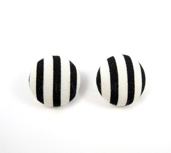 Stripes Black and White Earring Studs Geometric Free Shipping Etsy - Under 25
