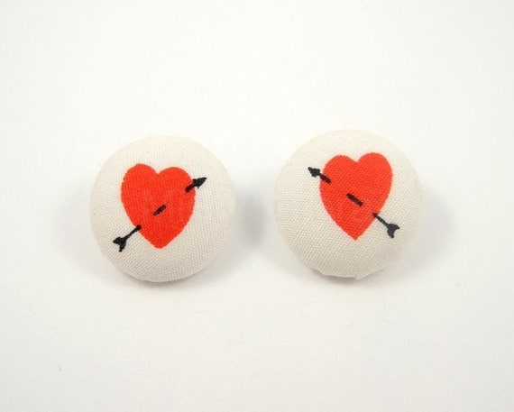 Red Heart and Arrow Earrings White Studs Romantic Valentine Jewelry Free Shipping Etsy