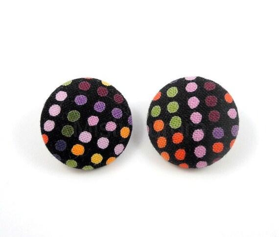 Polka Dot Earrings - Colorful Dots Earring Posts - Big Statement Earrings - Free Shipping Etsy