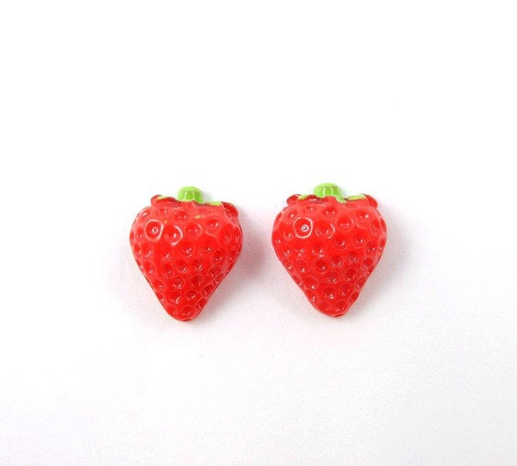 Strawberry Earrings - Red Green Miniature Berry Summer Fruit Free Shipping Etsy