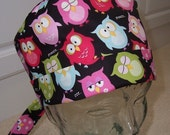 Tie Back Surgical Scrub Hat with Sleepy Owls