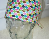 Tie Back Surgical Scrub Hat in Mosaic Petals