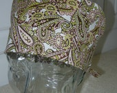 Tie Back Surgical Scrub Hat with Pink Brown Paisley