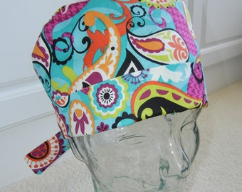 Tie Back Surgical Scrub Hat with Cosmic Paisley