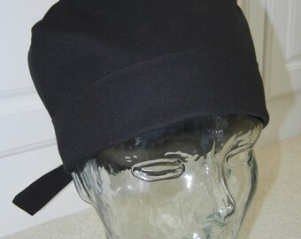 Tie Back Surgical Scrub Hat in Solid Black
