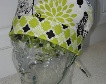Tie Back Surgical Scrub Hat in Butterfly Scroll