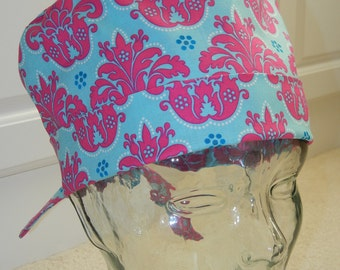 Tie Back Surgical Scrub Hat in Sky Damask