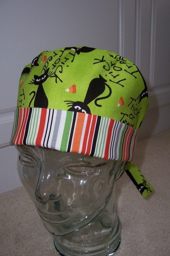 Tie Back Surgical Scrub Hat with Halloween Cats
