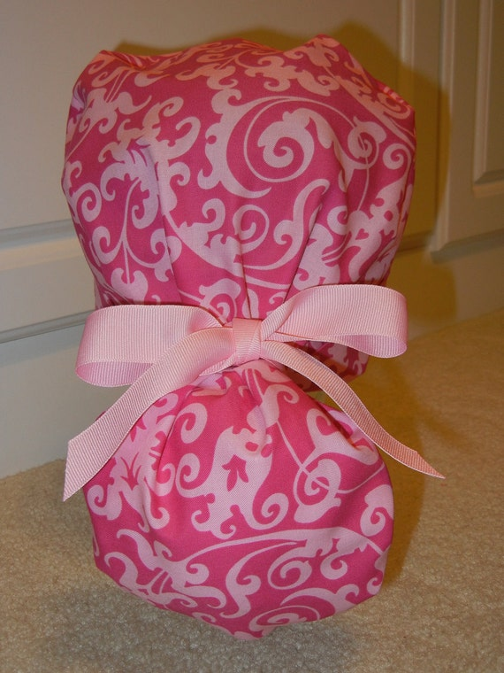 Turn Up Ponytail Scrub Hat with Pink Scroll