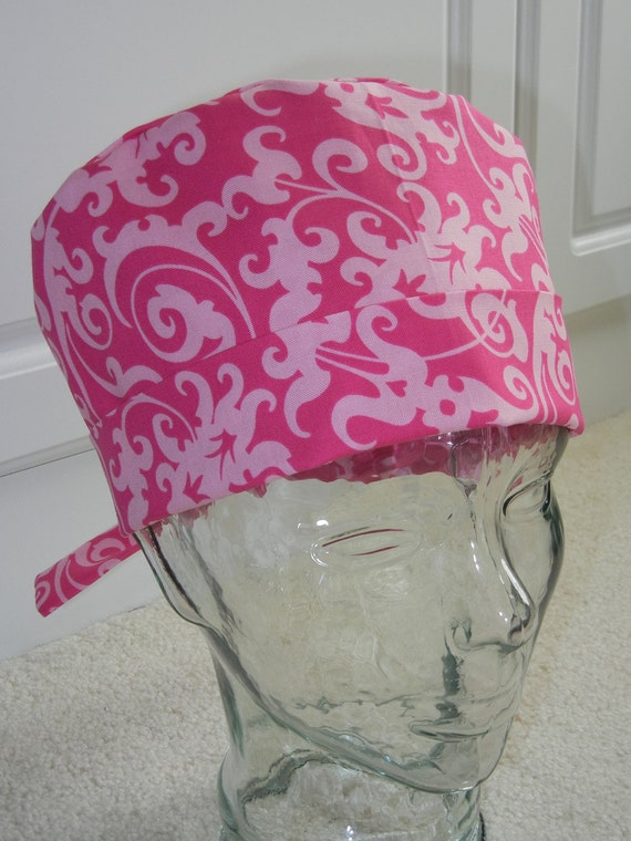 Tie Back Surgical Scrub Hat with Pink Scroll