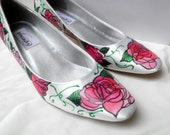 Shoes Bridal Wedding Event Party Rosetta and Peonies  design painted art deco