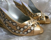 Wedding Shoes Painted Wedges matching invitation Vintage Gold