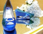 Wedding Shoes Peacock feathers and crystals blue soles