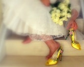 Wedding shoes bridal gold peep toes, Old Italy vines, as seen on Lifestyle Sun sentinel