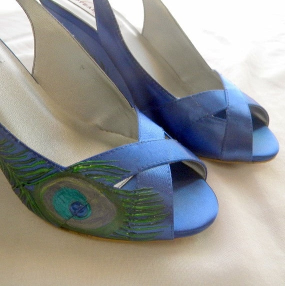 wedding shoes blue wedges painted peacock feather by norakaren