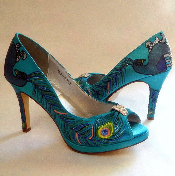 Turquoise Wedding Heels: Peacock Wedding Shoes Turquoise Bridal Shoes Painted By