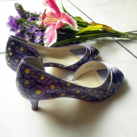 Wedding Shoes Plum Lilac And Sage Painted Peacock By Norakaren