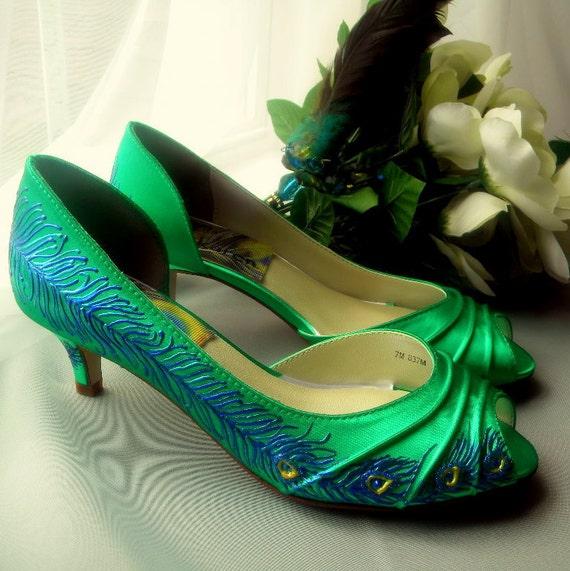 Emerald Green Low Heel Shoes