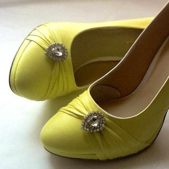 Wedding Shoes pale yellow high heels power yellow crystals