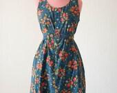 Vintage Blue and Orange Floral Dress