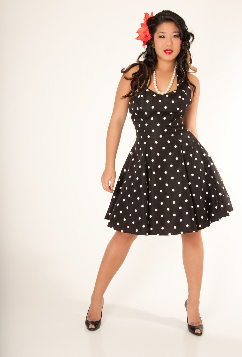 80s Vintage Clothing In The Uk Just Got Easier: Vintage 80's Retro 50's Style Black And White Polka