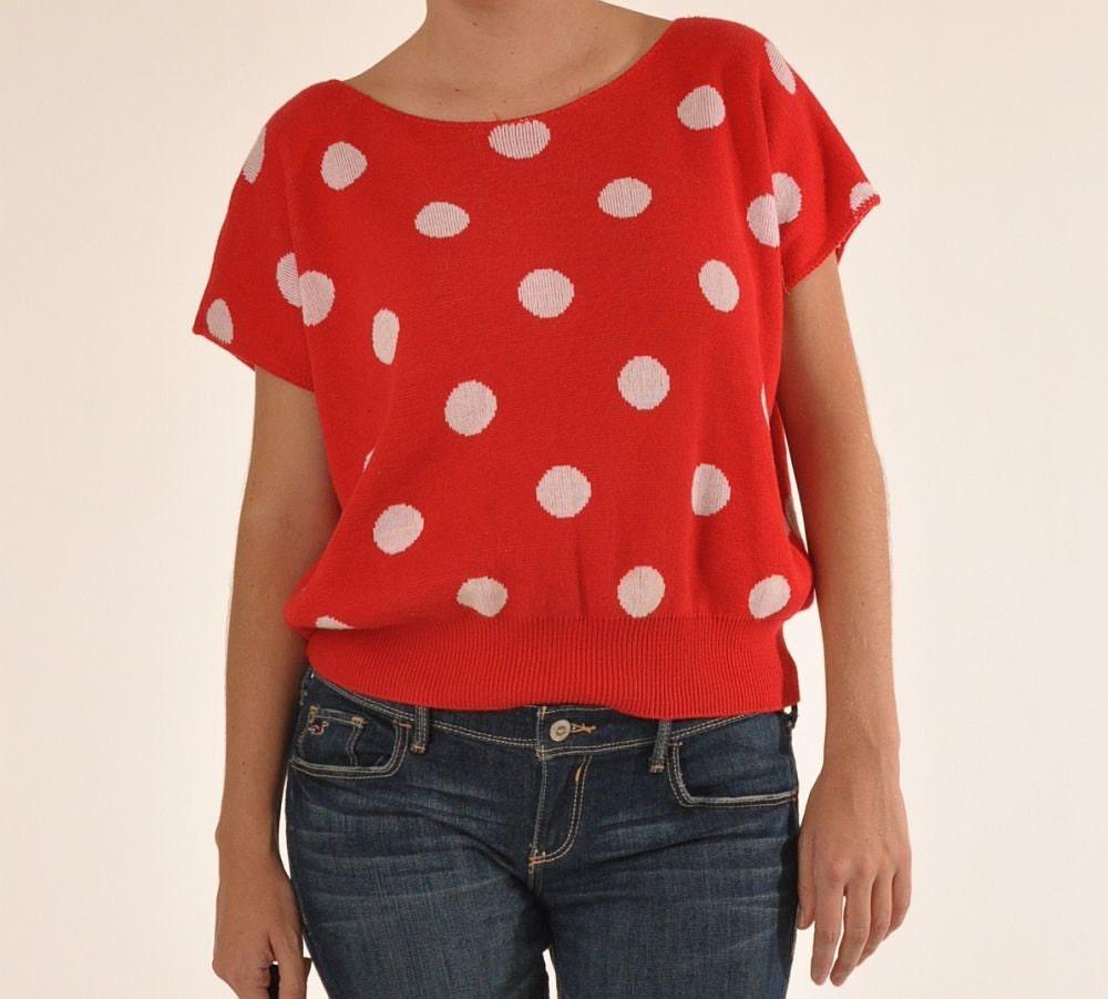 Vintage 80s oversized red and white polka dot sweater shirt for White red polka dot shirt