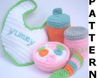 Baby Doll Feeding Set Crochet Patte rn  finished items made from  Mother's Day Easy Crochet Gift Ideas For Men