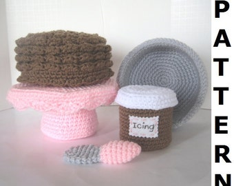 Play Food Crochet Pattern - Bake and Decorate a Cake