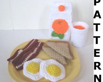 Play Food Crochet Pattern - Bacon, Eggs, Toast and Orange Juice