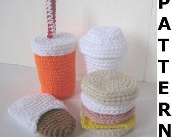 Crochet Food Pattern -- Fast Food Breakfast