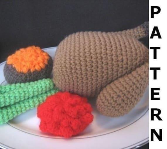 Play Food Crochet Pattern - Turkey Dinner