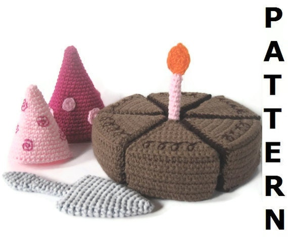 Play Food Crochet Pattern - Birthday Cake - finished items made from pattern may be sold