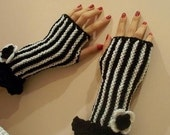 Stripe Knitted Black,white mittens for precious ladies.My own design