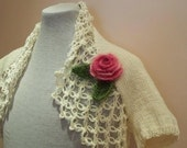 Knitted  IVORY shrug--pink flower,Ready to ship,spring fashion.winter accessories.Big discount
