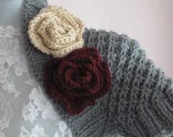 Handknitted Grey shrug,flower,winter,crochet,women,fashion..christmas