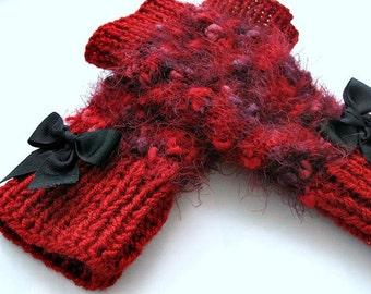 Knitted  Red  Rabbit wool mittens, Knitted gloves,  soft Knit gloves, Knitted winter  women mittens , winter accessories