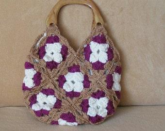 Crocheted bag...3 colors burgundy-ivory-purple.Handmade,knit,fashion