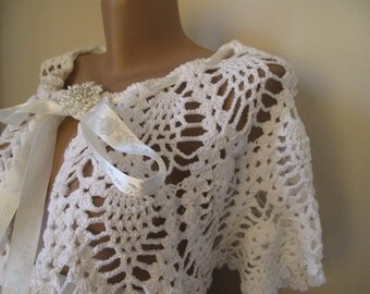 Bride bolero, wedding, cotton white BRIDE wrap- shawl- Hand crocheted, Big discount.