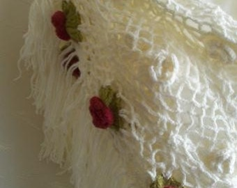 Crocheted .Triangle shawl..Ivory..