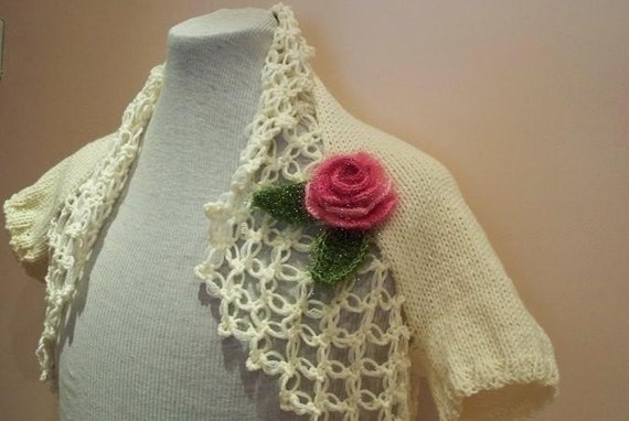 Knitted ivory shrug, pink flower brooch,  bridal shrug