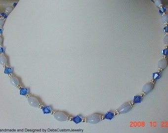 Sterling Silver Necklace Made With Blue Lace Agate and Swarovski Sapphire Colored Crystals