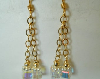 14K Gold Filled and Sterling Silver AB Crystal Earrings