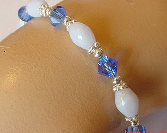Sterling Silver Bracelet Made With Blue Lace Agate and Swarovski Sapphire Colored Crystals