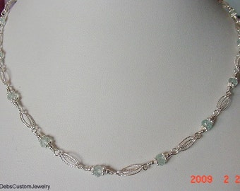 Genuine Aquamarine Sterling Silver Necklace