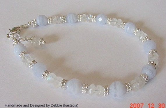 Blue Lace Agate and Moonstone Sterling Silver Bracelet